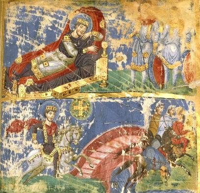 Το όραμα του αγίου Κωνσταντίνου και η μάχη της Μουλβίας Γέφυρας. Μικρογραφία από βυζαντινό χειρόγραφο του 9ου αιώνα με ομιλίες του αγίου Γρηγορίου του Θεολόγου. Παρίσι, Biblothèque Nationale.