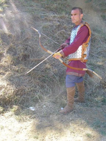 "Modern reconstruction of an urban militiaman from Antioch by the Hellenic horseback archery society. He is wearing a military tunic and his blue trousers set hims as a member of the ""Blues Circus Fraction"". According to Procopious the Antiochian militia was well armored."