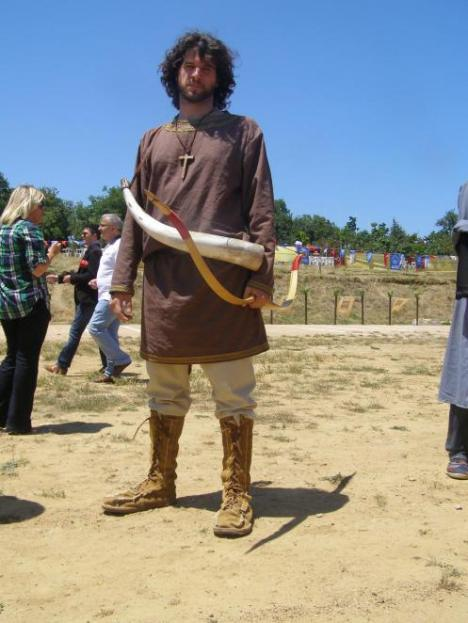 Modern reconstruction of a 7th cent viglatoras from the Hellenic horseback archery society. Probably the last in the pickets line as he would sound the alarm by blowing the horn Horn courtesy of the living history association Koryvantes and boots courtesy of hellenicarmors.gr