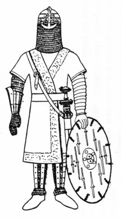 Figure 6 - Reconstruction of Valsgärde 8 panoply. (source: Engström, fig. 6).