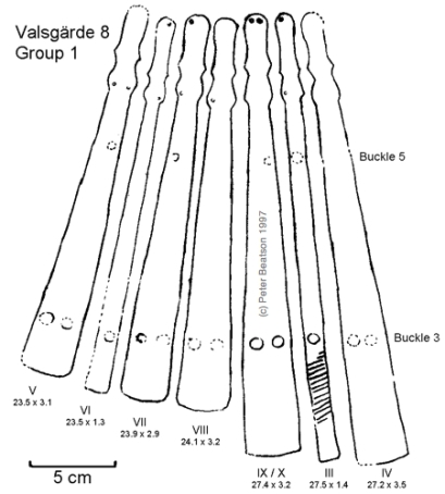Figure 7 - Valsgärde 8, splints of Group 1 armguard. (drawing: PB, after Arwidsson 1954 pl. 7).