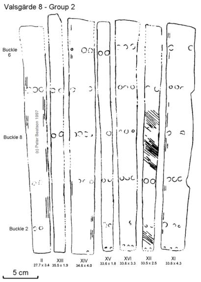 Figure 8 - Valsgärde 8, splints of Group 2 left leg. (drawing: PB, after Arwidsson 1954 pl. 8).