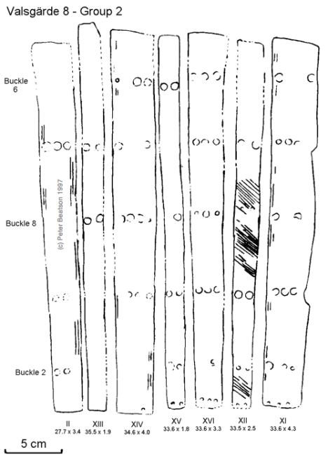 Figure 8 - Valsgärde 8, splints of Group 2 left leg. (drawing: PB, after Arwidsson 1954 pl. 8).