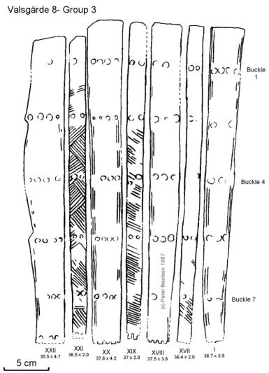 Figure 9 - Valsgärde 8, splints of Group 3 right leg. (drawing: PB, after Arwidsson 1954 pl. 9).