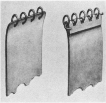 Figure 10 - Valsgärde 8, attachment of mail to splints (left) Groups 1 & 2; (right) Group 3 (source: Arwidsson 1954, fig. 19).