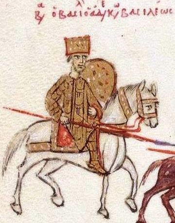 Figure 3b - Madrid Skylitzes, fol. 195v. detail - at the rear of the pursuing forces, Basil II wears similar leg armour to George I. (source: Wikimedia Commons).