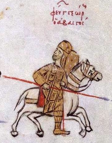Figure 3a - Madrid Skylitzes, fol. 195v. detail - Georgian ruler George I retreating before the Byzantine army commanded by Emperor Basil II, an event of 1021-22. (source: Wikimedia Commons).