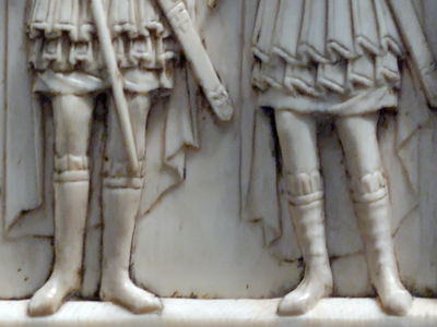 "Figure 4 - Military saints on the ""Harbaville Triptych"": carved ivory ikon, Constantinople mid 11th c.   Left, detail - the two Saints Theodoros, teron and stratelates.  Right, detail - Saints Georgios and Eustathios. (source: Wikimedia Commons)."
