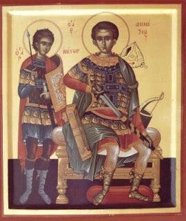 Ο άγιος Δημήτριος και ο μαθητής του άγιος Νέστωρ.