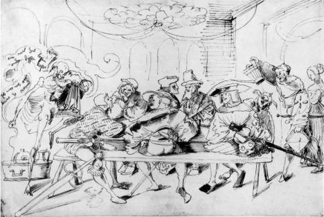 Μισθοφόροι στη ταβέρνα, του Urs Graf. Δυο Ρωμιοί Stratioti βρίσκονται στο ίδιο τραπέζι με τους διάσημους Γερμανούς μισθοφόρους τους Landsknecht.