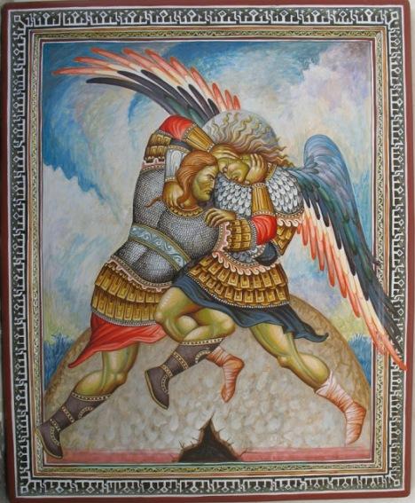 Τα μαρμαρένια Αλώνια. Η πάλη του Διγενή με τον Χάρο. Πίνακας του Δ. Σκουρτέλη