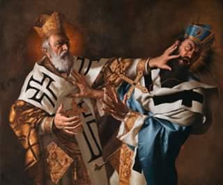 O Άγιος Νικόλαος χαστούκισε τον αιρετικό Άρειο εις την Α΄ Σύνοδο της Νίκαιας το 325 μ.Χ.
