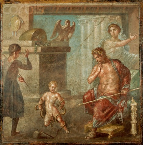 Infant Hercules Killing Snakes Fresco Painting in the House of the Vettii at Pompeii