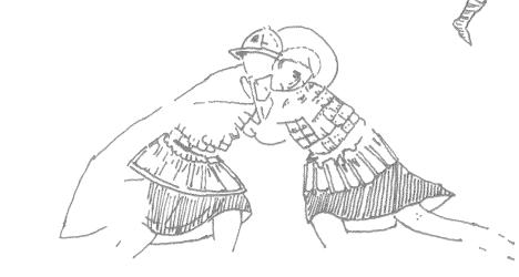 Ο Αγιος Νέστορας και ο Λιαίος μονομαχούν με πλήρη πολεμική εξάρτηση στον ιππόδρομο (;), τοιχογραφία. Καστοριά, Ομορφοκκλησιά, 1295-1317 μ. Χ